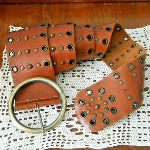 Vintage BOHO Brown Leather Studded Belt L XL